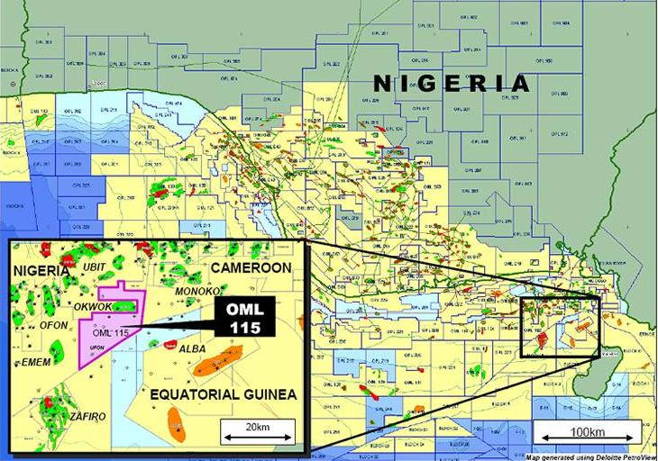 OERL Offshore - OML 115 Map